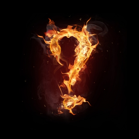 Fire alphabet question mark photo