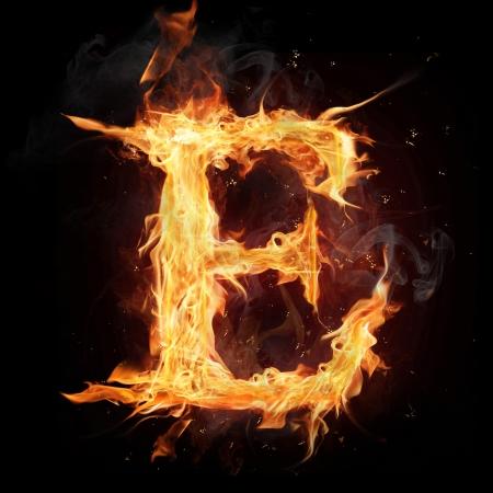 symbol flammable: Fire alphabet letter Stock Photo