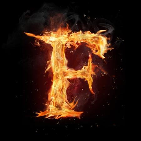 Fire alphabet letter Zdjęcie Seryjne