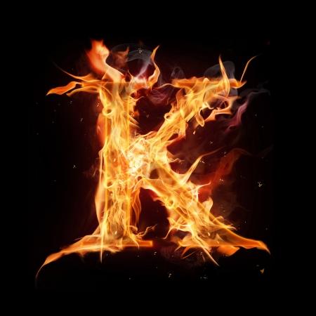burns night: Fire alphabet letter Stock Photo