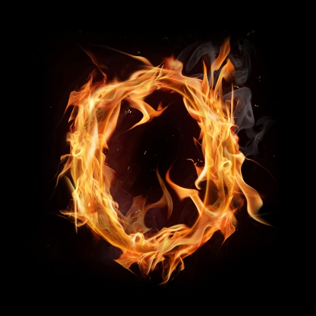 igniting: Fire alphabet letter Stock Photo