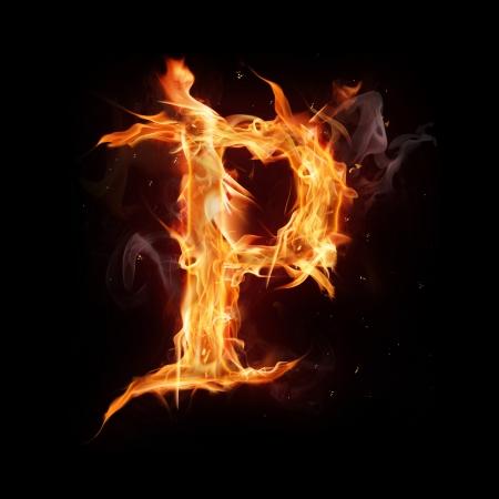 fiery font: Fire alphabet letter Stock Photo