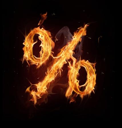Fire alphabet percent symbol photo