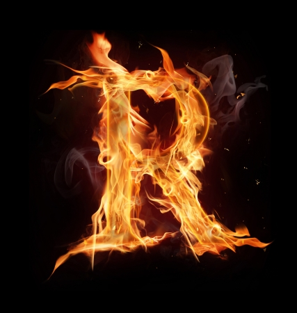 flame alphabet: Fire alphabet letter Stock Photo