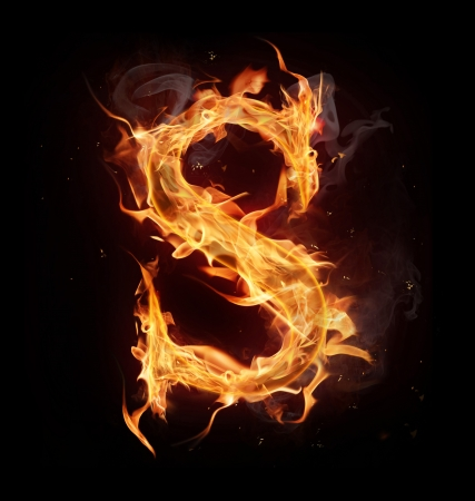 fire font: Fire alphabet letter Stock Photo