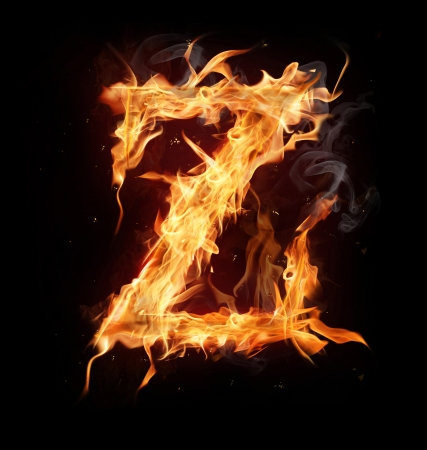 flame letters: Fire alphabet letter Stock Photo