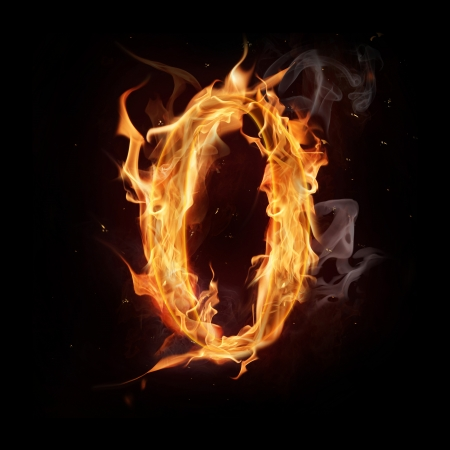 fiery: Fire alphabet number Stock Photo