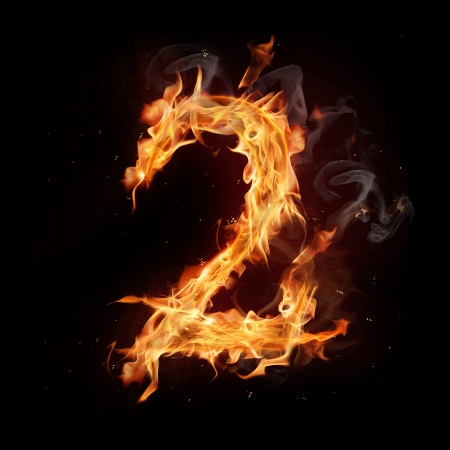 Fire alphabet number Stock Photo