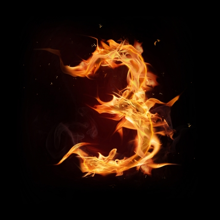 burn: Fire alphabet number Stock Photo