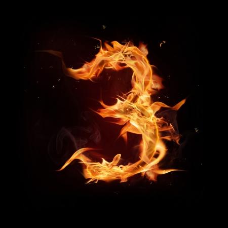quemadura: Fuego n�mero alfabeto