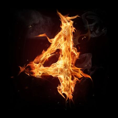 flame burn: Fire alphabet number Stock Photo