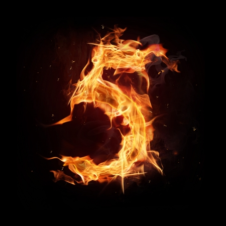 high five: Fire alphabet number Stock Photo