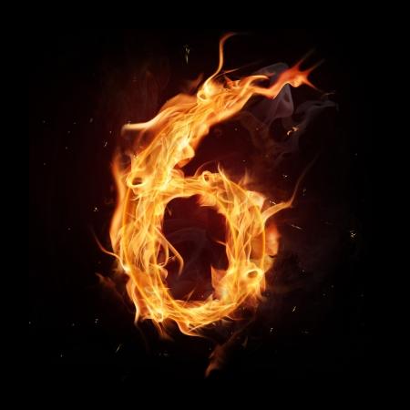 Fire alphabet number Stock Photo