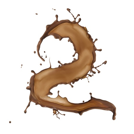 Chocolate splash number 2 isolated on white background  photo