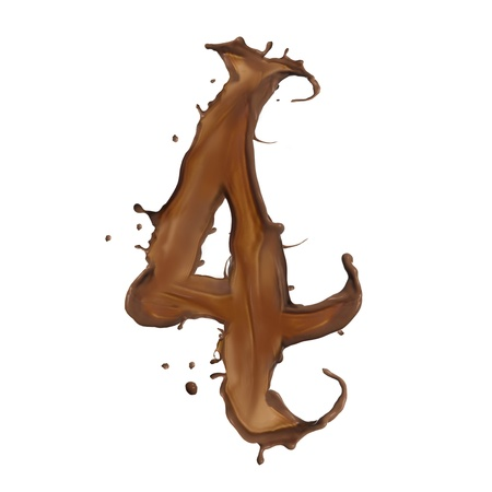 Chocolate splash number 4 isolated on white background  photo