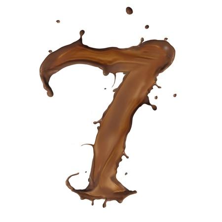 chocolate drop: Chocolate splash number 7 isolated on white background  Stock Photo