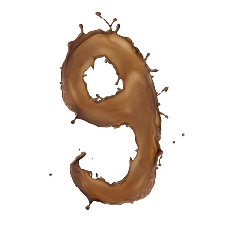 Chocolate splash number 9 isolated on white background  photo