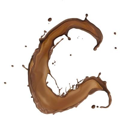 Chocolate splash letter isolated on white background  Stock Photo