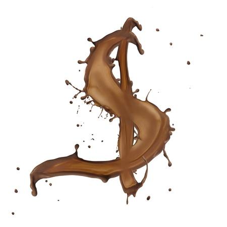 Chocolate splash Dolar symbol isolated on white background  photo
