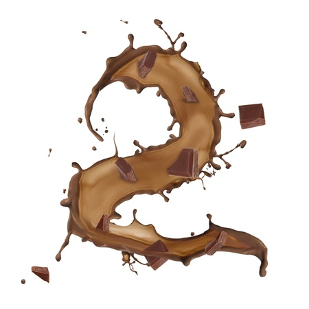 Chocolate splash number 2 with bars over white background photo