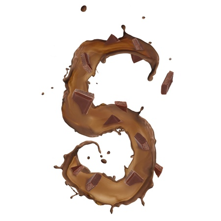 Chocolate splash number 5 with bars over white background photo