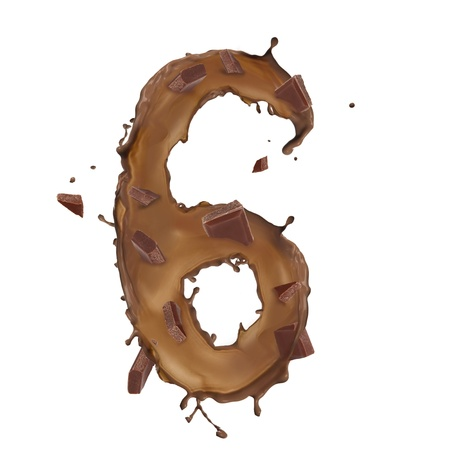 Chocolate splash number 6 with bars over white background photo