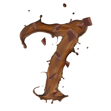 Chocolate splash number 7 with bars isolated on white background photo
