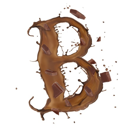 Chocolate splash letter with bars isolated on white background Stock Photo - 14864502