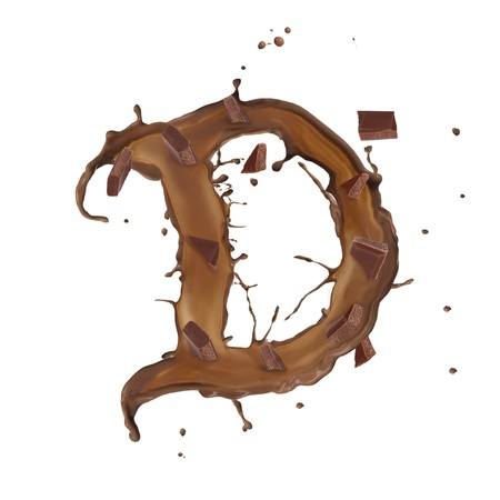 Chocolate splash letter with bars isolated on white background Stock Photo - 14864464