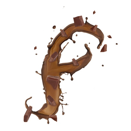 Chocolate splash letter isolated on white background Stock Photo - 14864451