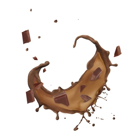 Chocolate splash isolated on white background  photo