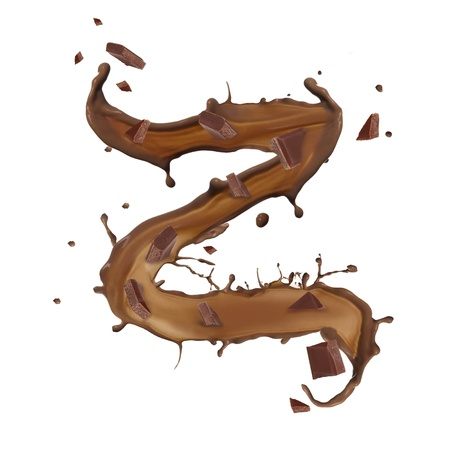Chocolate splash letter isolated on white background  photo