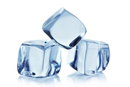 melting ice: Ice cubes over white