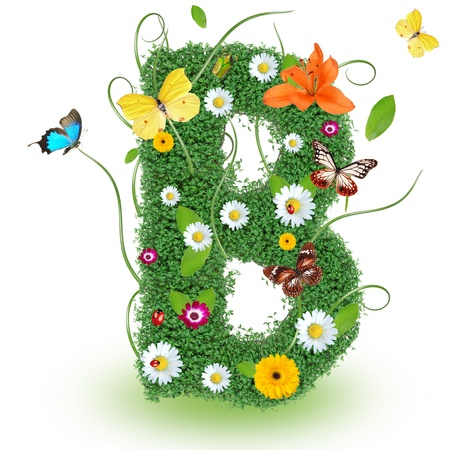 Beautiful spring letter B