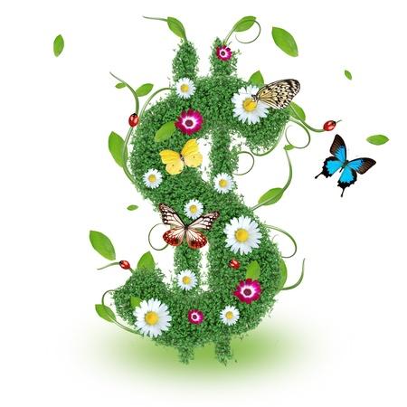 Beautiful spring Dollar symbol Stock Photo - 14864687