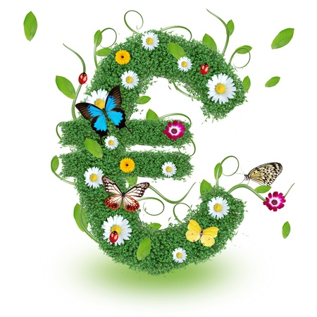 Beautiful spring Euro symbol photo