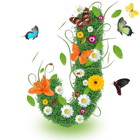 """alfabeto con animales: Hermosa primavera letra """"J"""" Foto de archivo"""