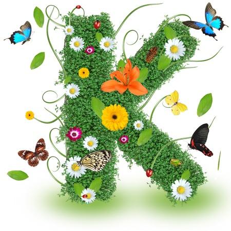 letter k: Beautiful spring letter K Stock Photo