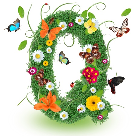 letter head: Beautiful spring letter Q Stock Photo