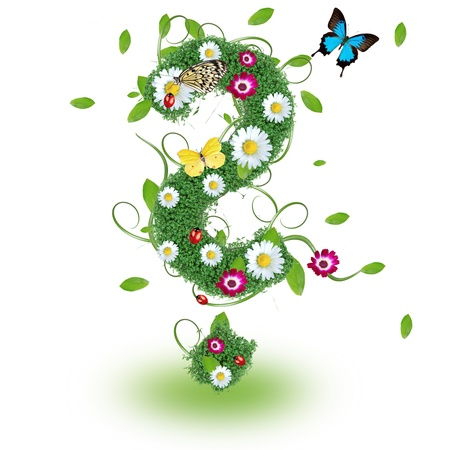 Beautiful spring question mark symbol photo