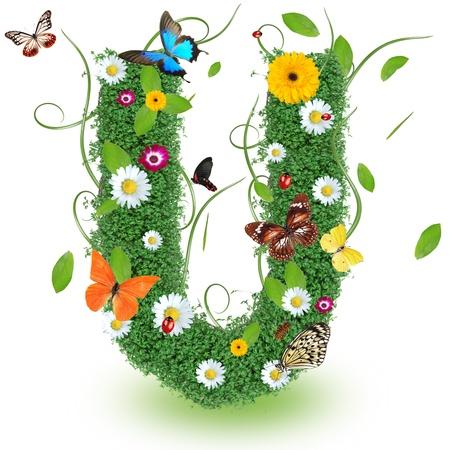Beautiful spring letter  U   Stock Photo