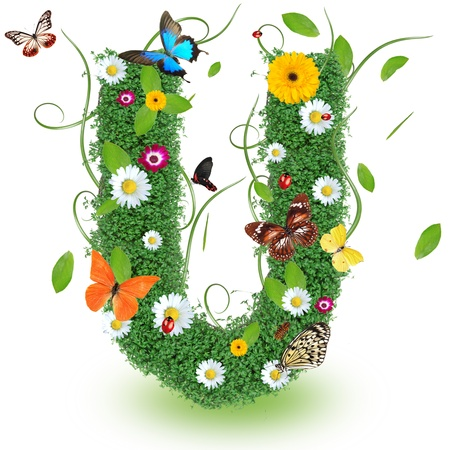 alfabeto con animales: Hermosa primavera letra U Foto de archivo