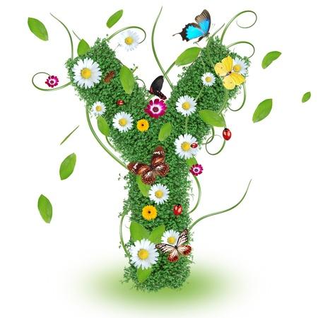 alfabeto con animales: Hermosa primavera letra Y