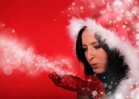 Portrait of beautiful santa girl photo