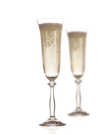 new year  s day: Champagne glasses Stock Photo