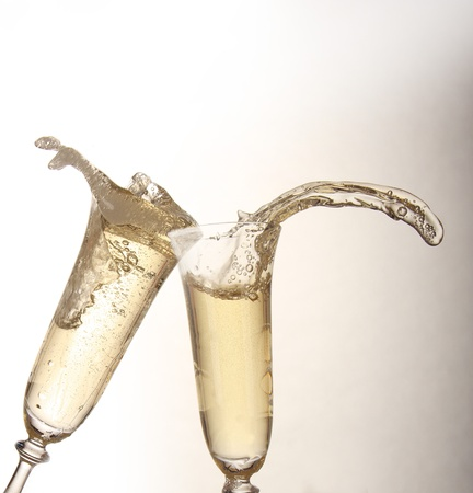new years day: Champagne glasses Stock Photo