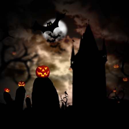 scary night: Glowing pumpkins in a dark scary forest with cemetery