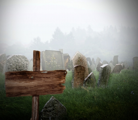Cemetery in a fog photo