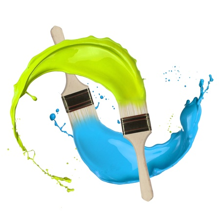 artist: Colored paints splashing out of brushes  Isolated on white background Stock Photo