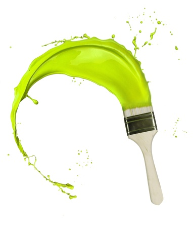 Green paint splashing out of brush. Isolated on white background